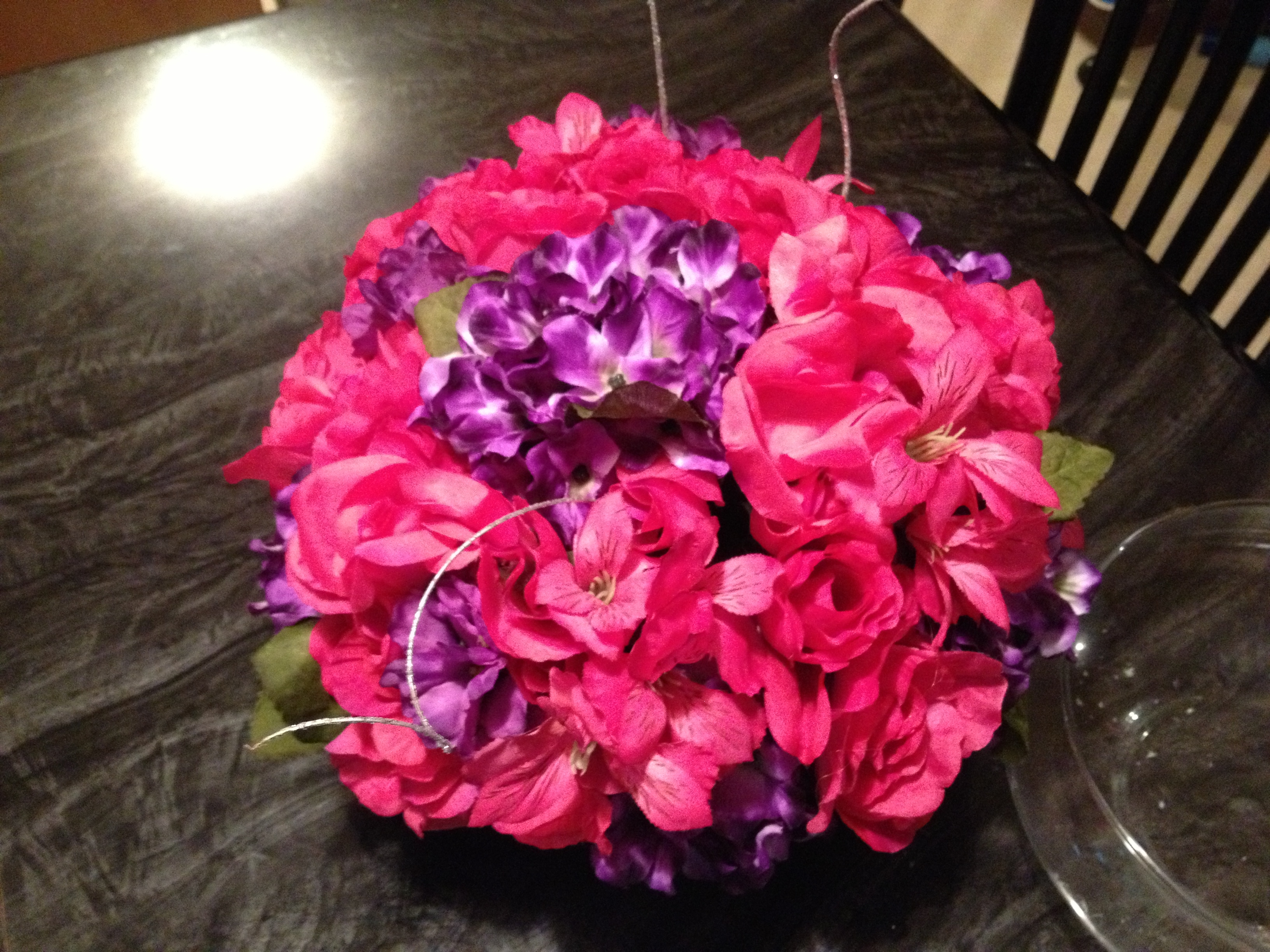 PIP- Pink and Purple wedding flowers, white pew bows and rose petals ...