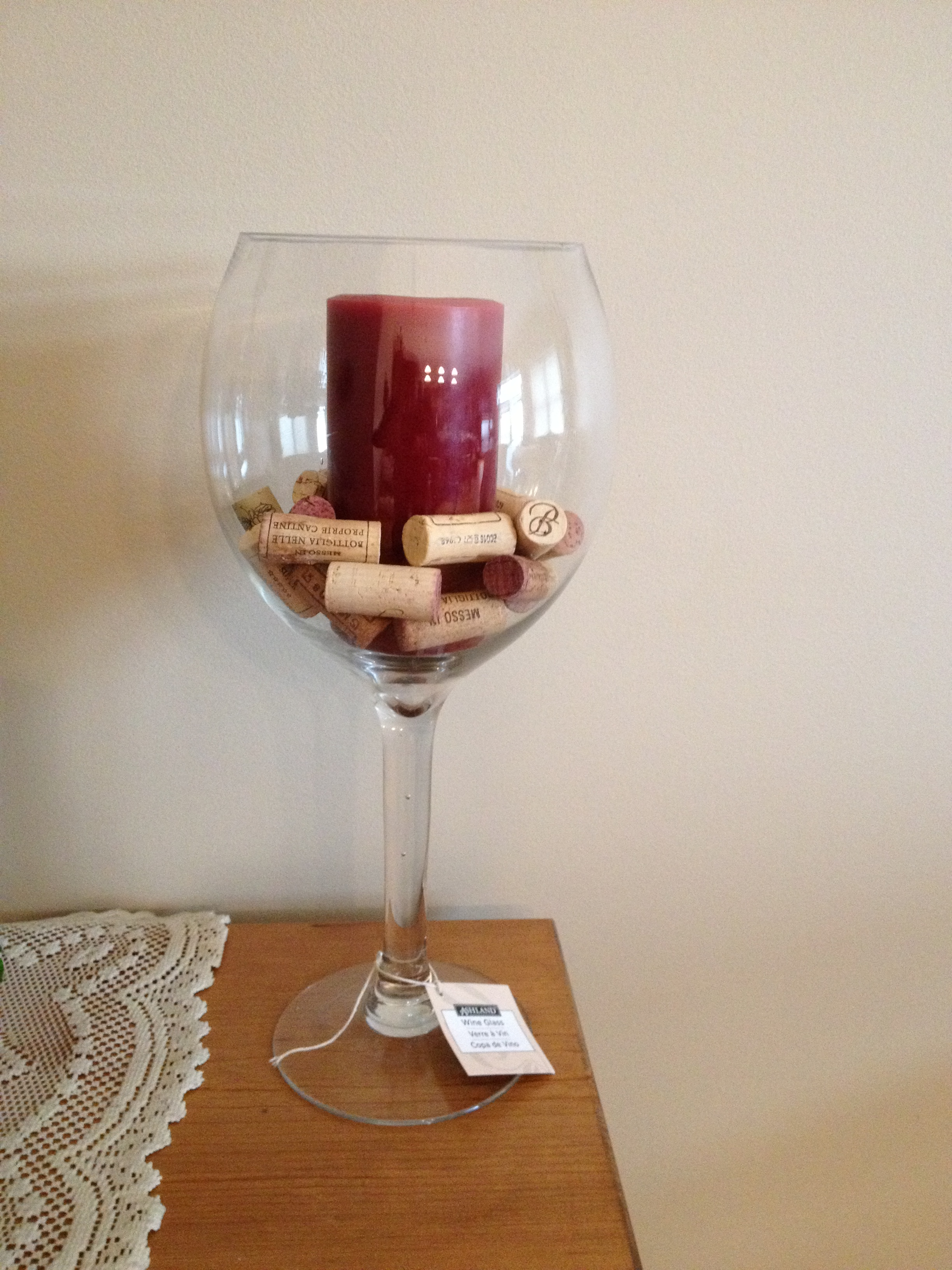 F s giant wine glasses centerpiece idea the knot for Centerpieces made with wine glasses