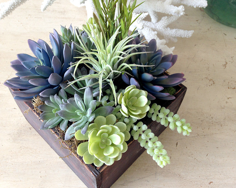 Succulent And Seaglass Centerpieces The Knot