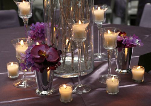 beautiful stemmed candle holders + floating candles for DIY ...