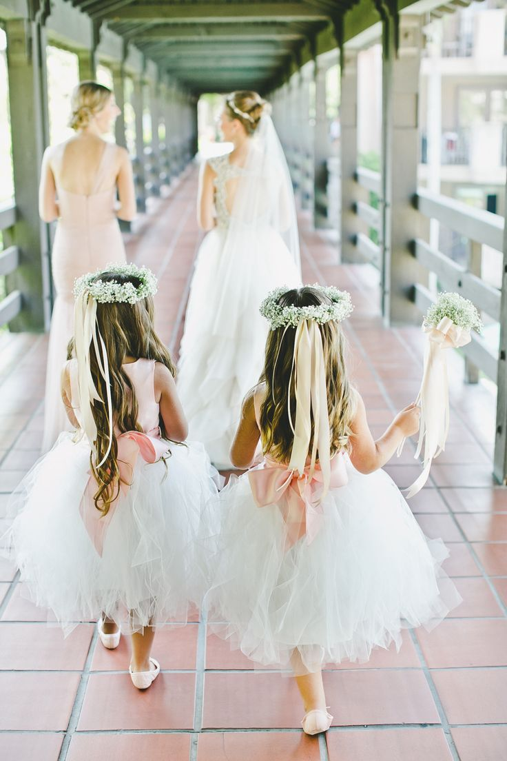 Blush Wedding Dress But Ivory Flower Girl The Knot