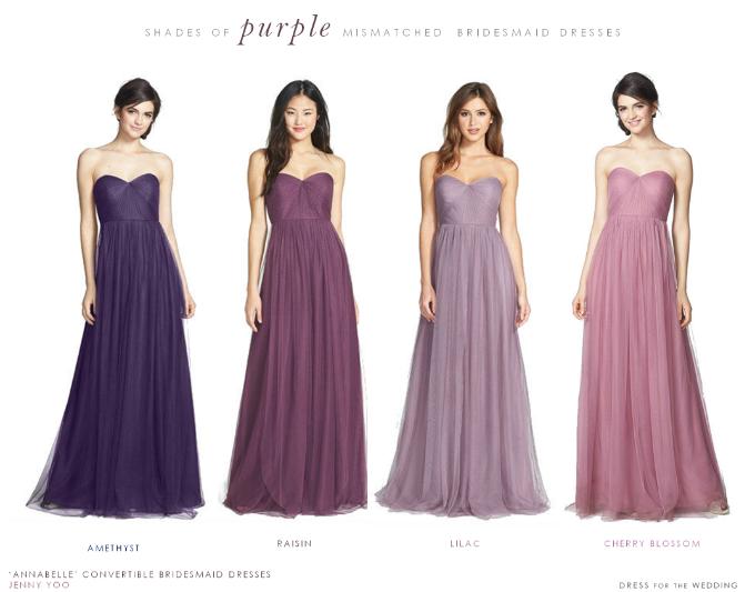 Mismatched Purple Bridesmaid Dresses Png