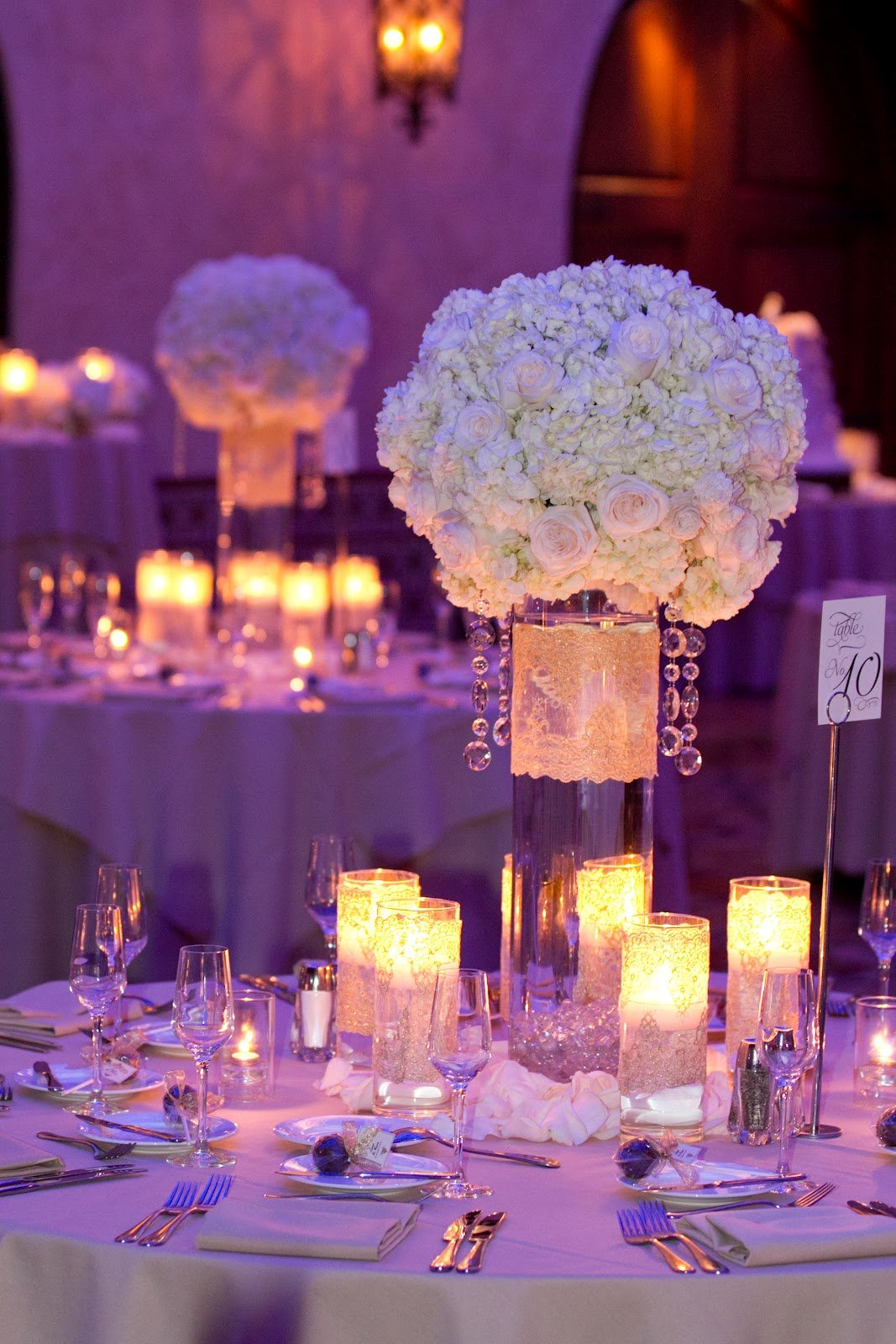 White Centerpieces With Crystals Gold Lace Jpg