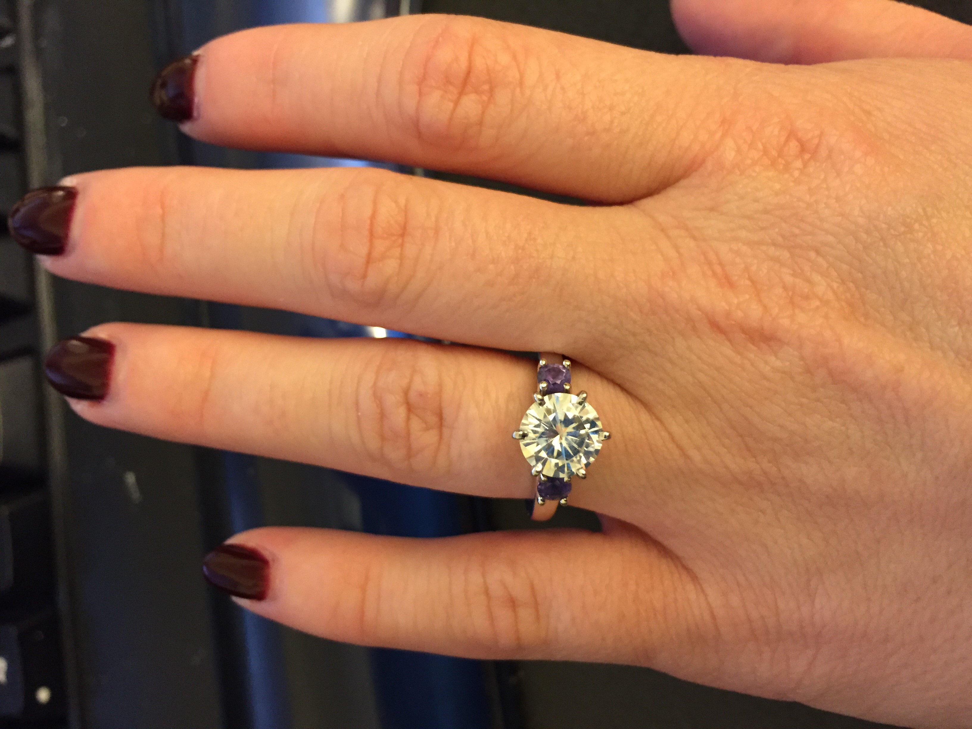 EastWest Amethyst Diamond Halo Ring in 14k White Gold