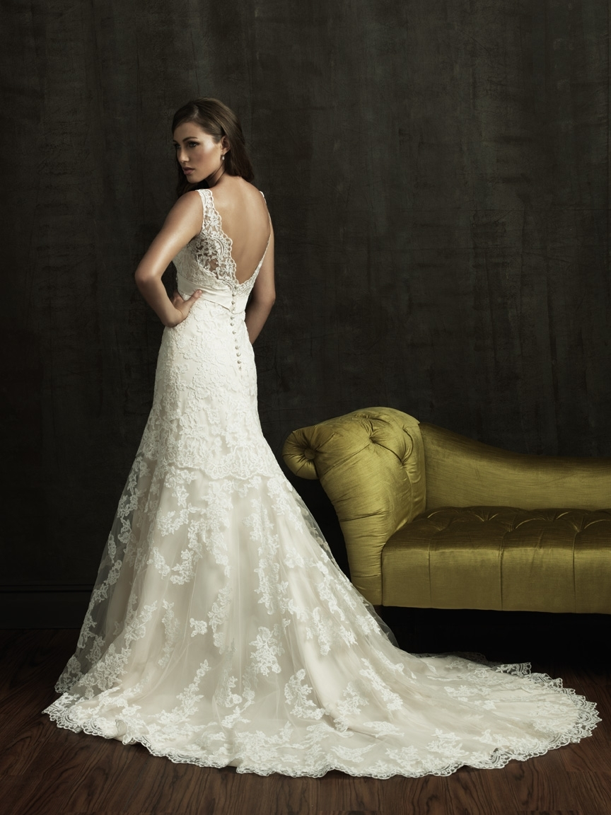 Gold and ivory lace wedding dresses