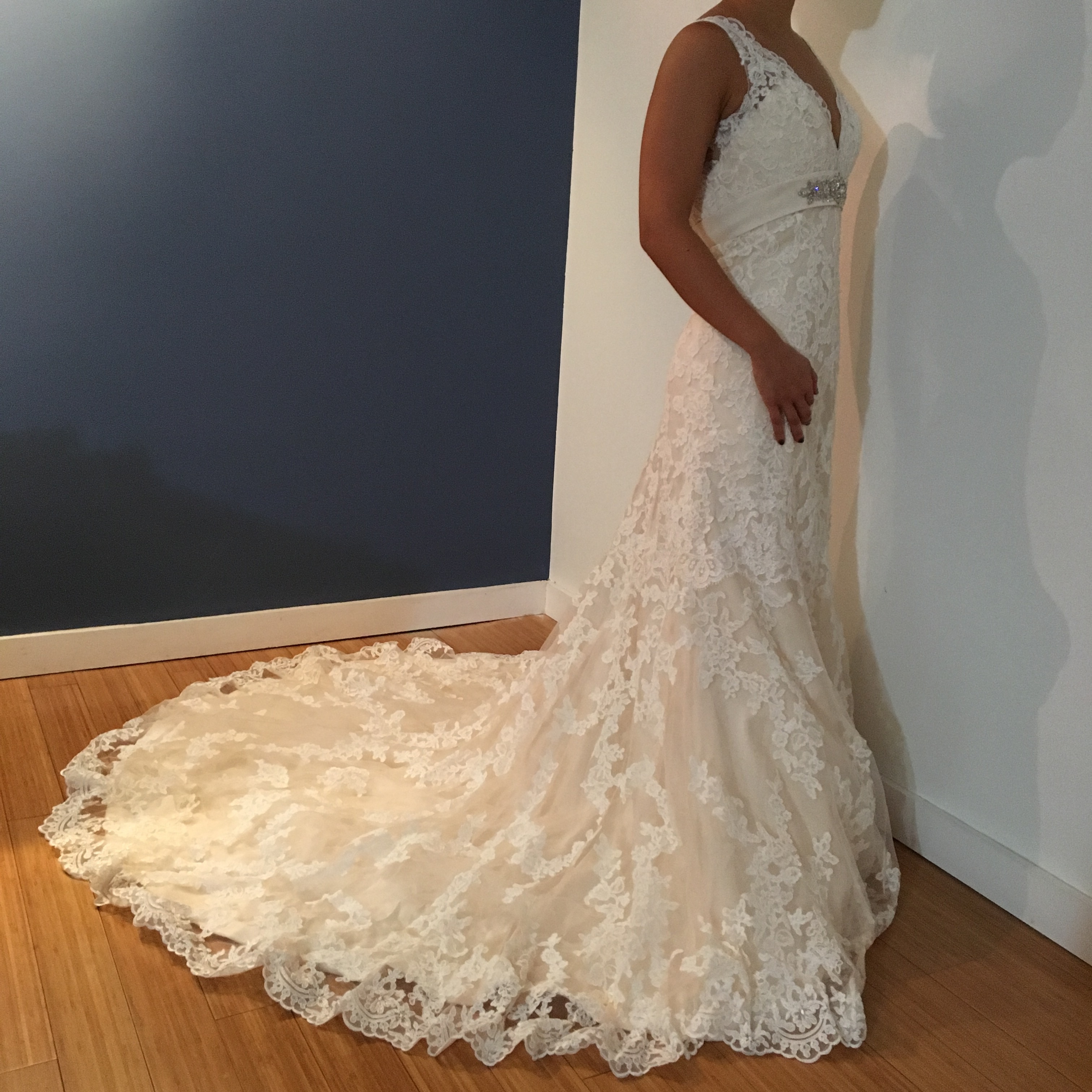 F S New Unworn Unaltered Allure Bridal 8634 Light Gold Ivory Lace Wedding Dress The Knot Community