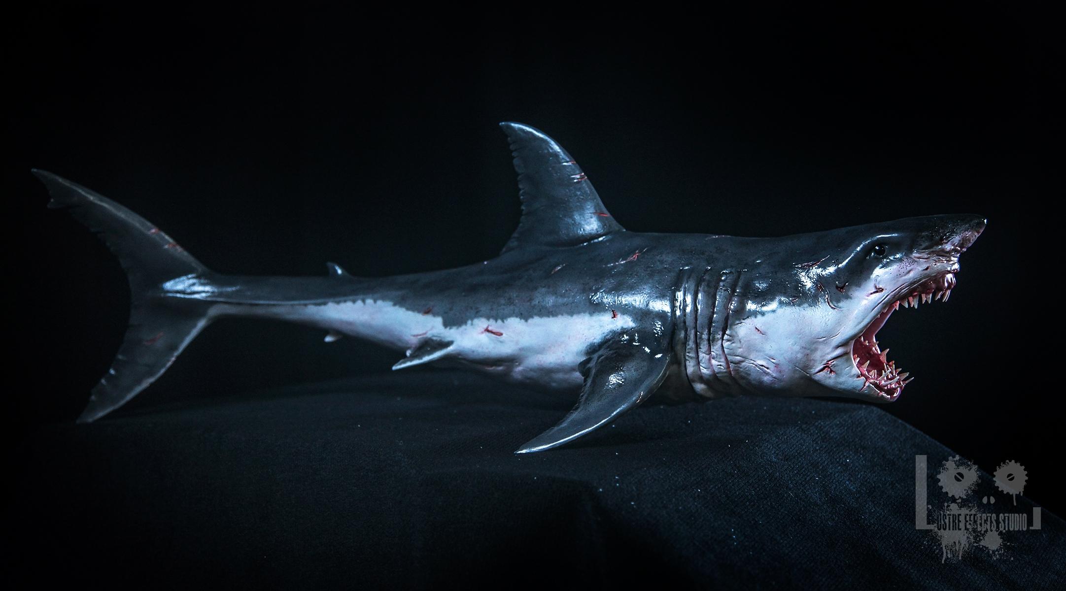 A Great White Shark Sculpture Color Effect Stan Winston School