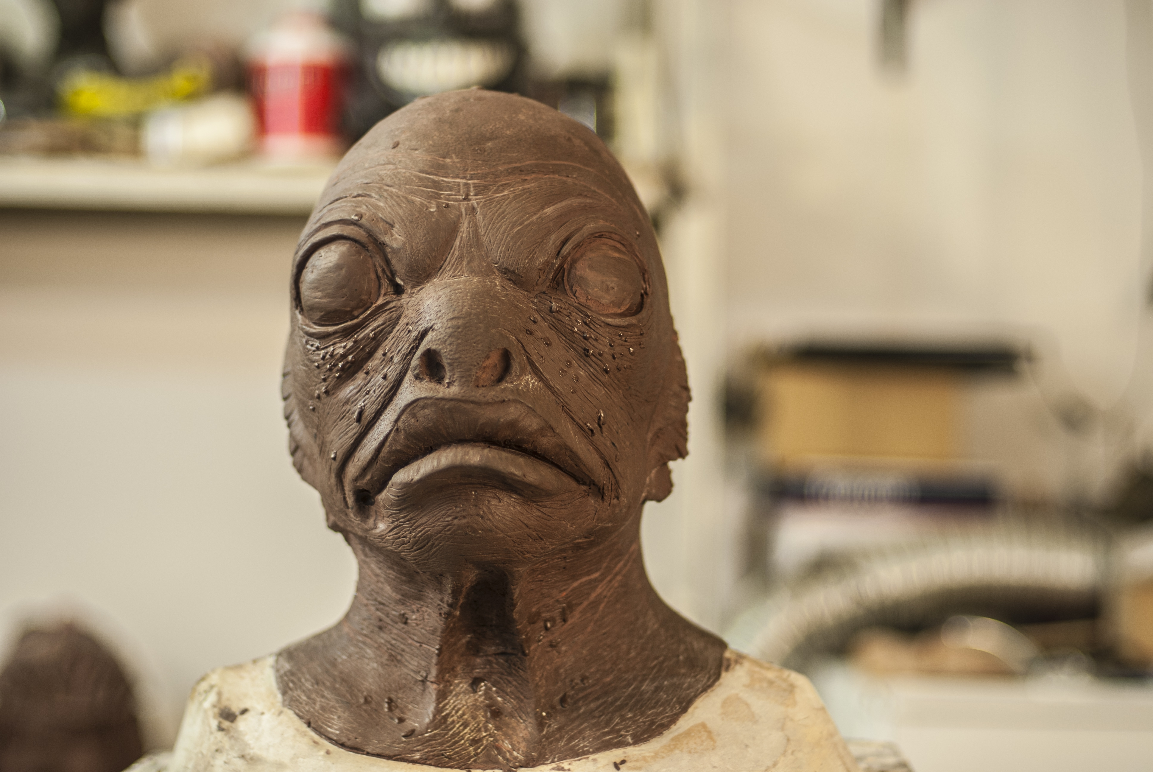 Fishman Mask Sculpture With Oil Clay Stan Winston School