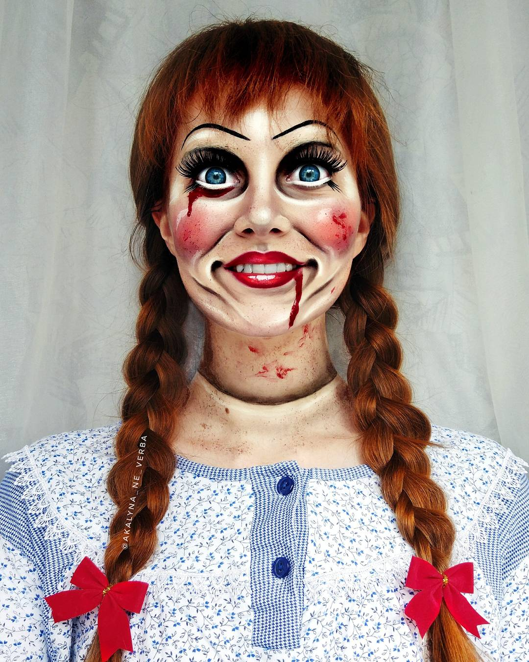 popular horror movie character annabelle to get the effect of a real life porcelain doll i used usual makeup enlarging contact lenses stage blood