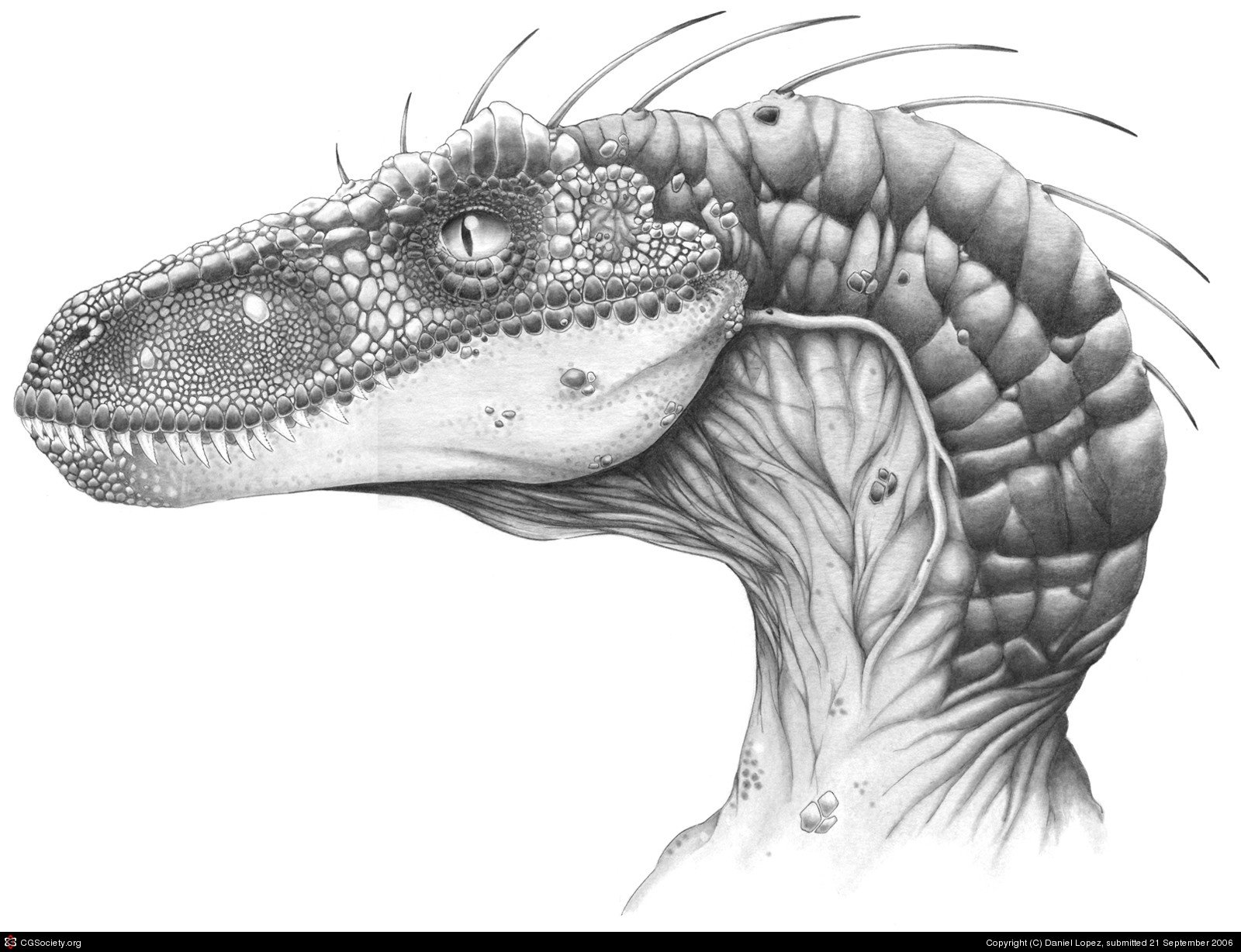 Velociraptor head 2D pencil (traditional) — Stan Winston ...