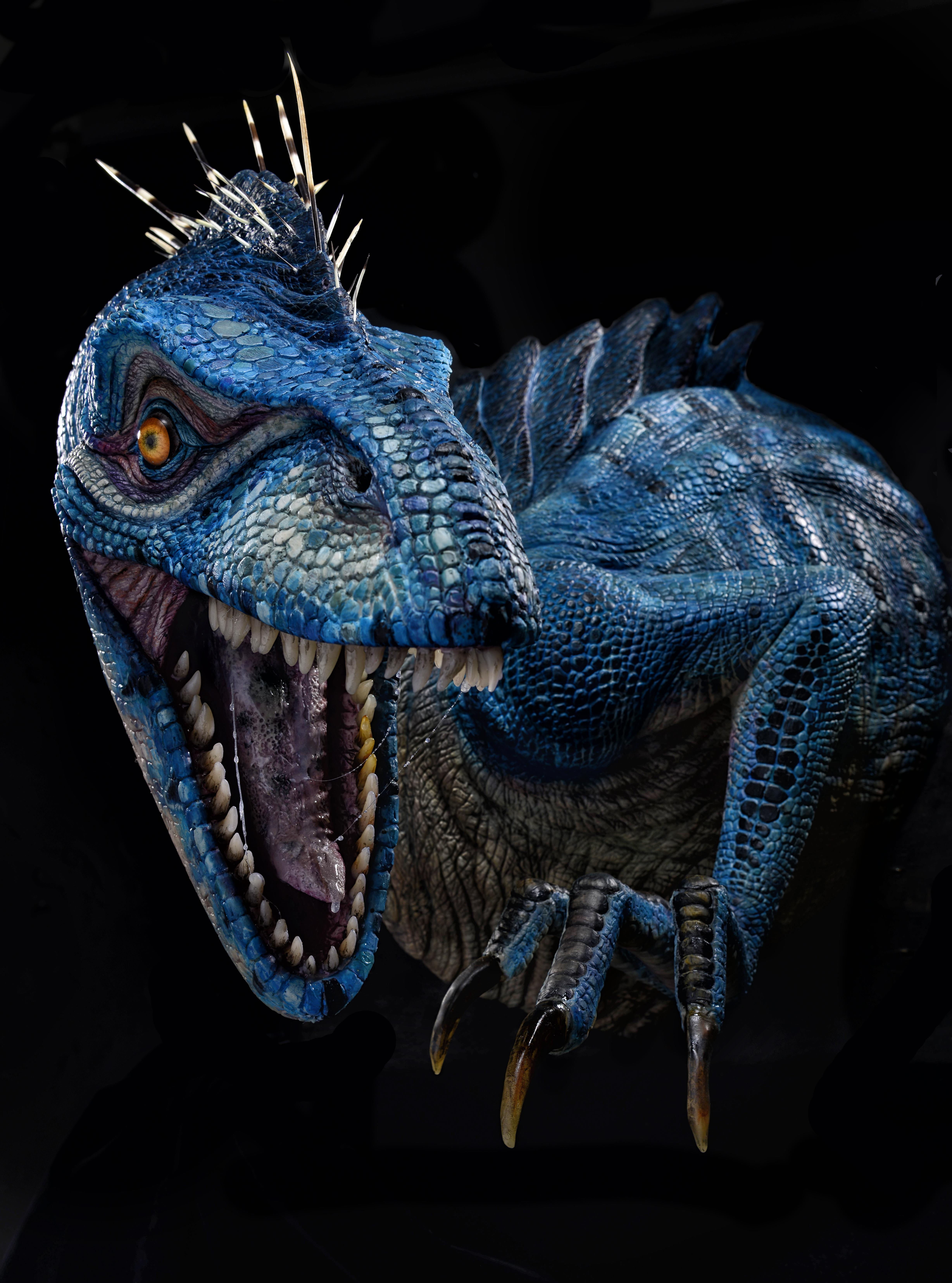 Wall mounted blue raptor sculpture stan winston school of character arts forums - Raptor dinosaure ...