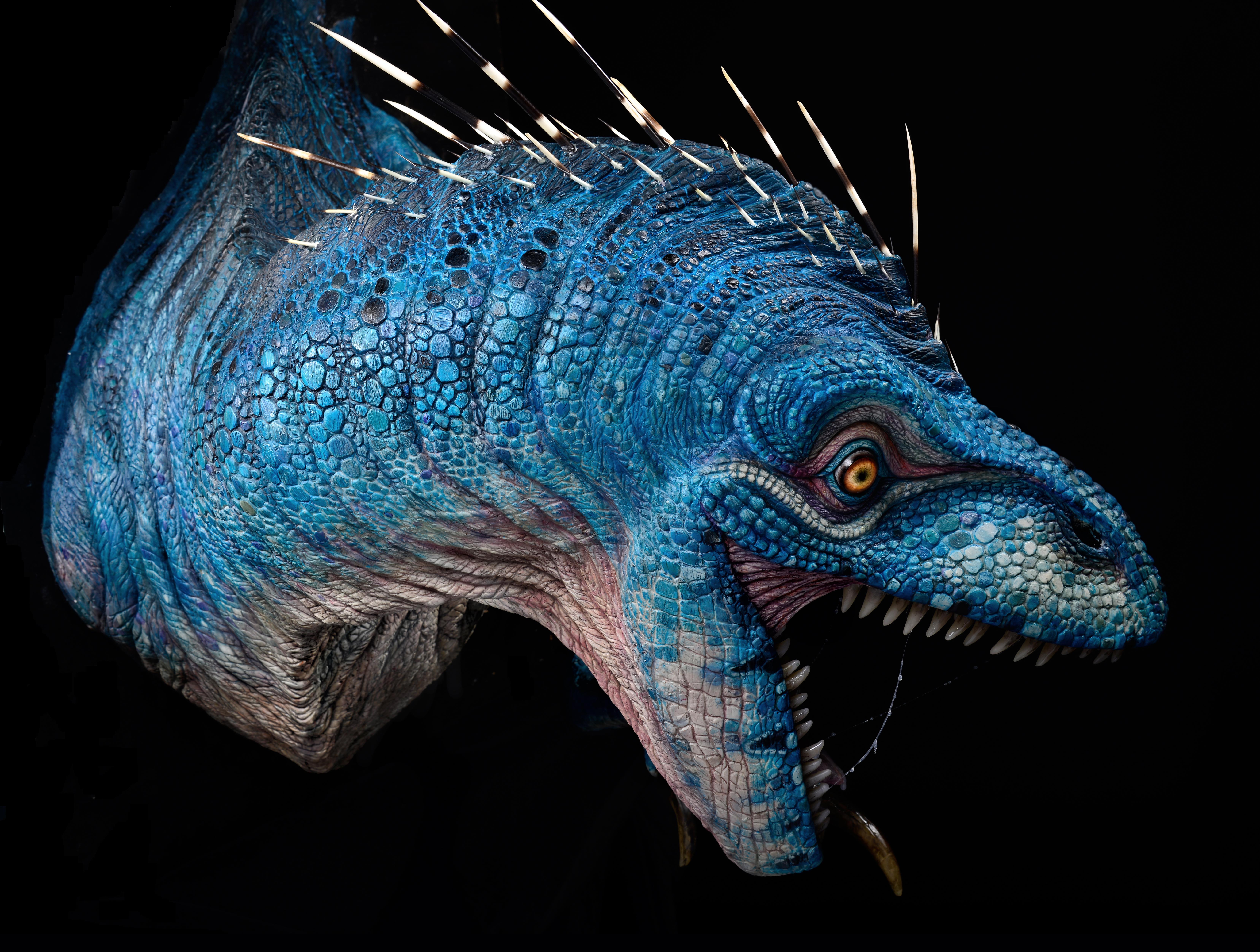 Wall Mounted Blue Raptor Sculpture Stan Winston School Of