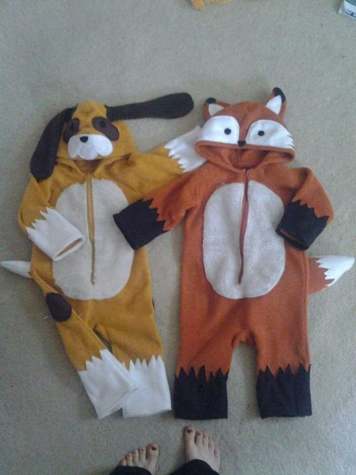 my kid and his bff are dressing up as todd and copper from the fox and the hound i am a little crafty but i cant sew so my friend made both costumes