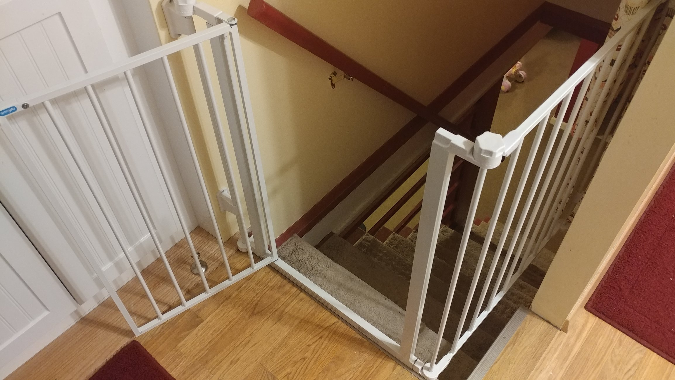 child proofing top of stairs with irregular opening u2014 the bump
