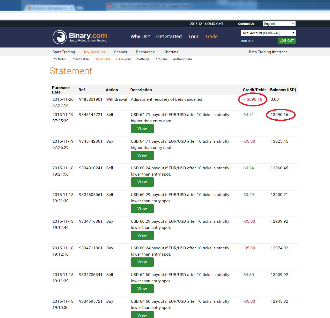 Binary option arbitrage