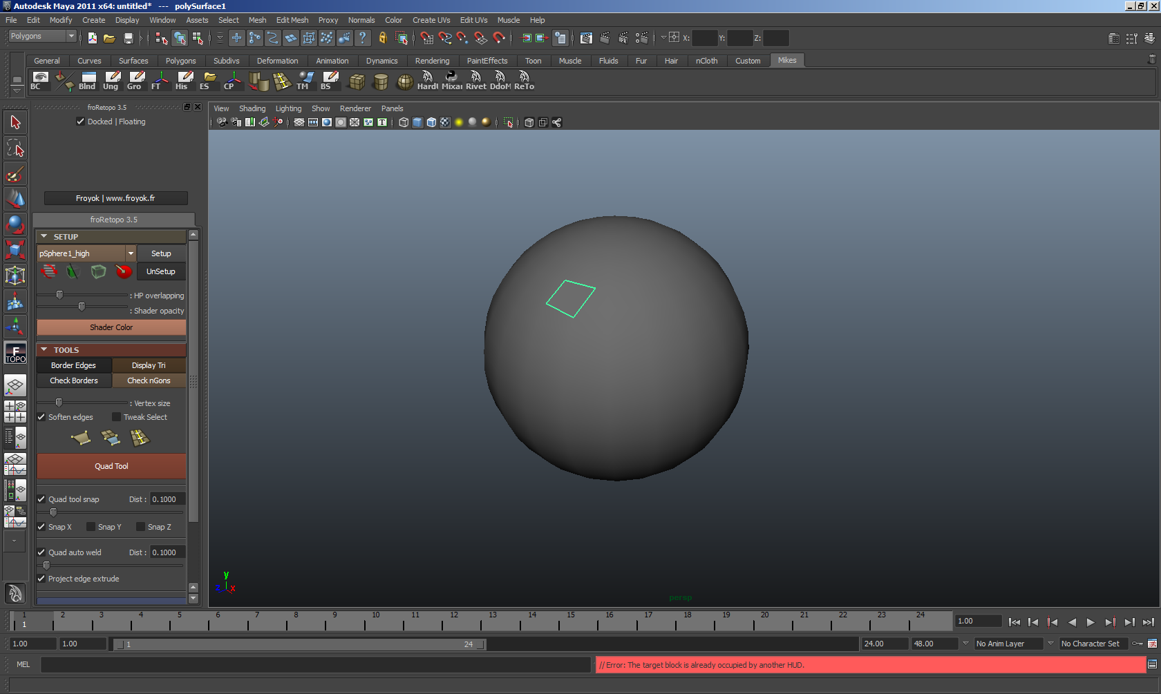 froRetopo : free, fast and simple retopology script for Maya