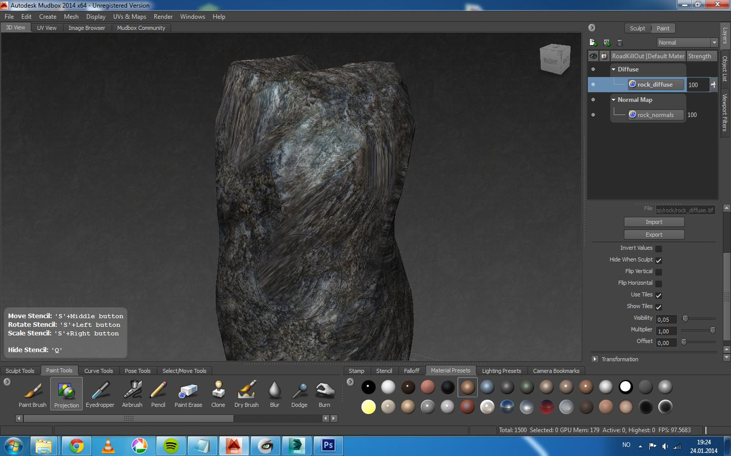 Problems with texture stretching while painting rock in Mudbox