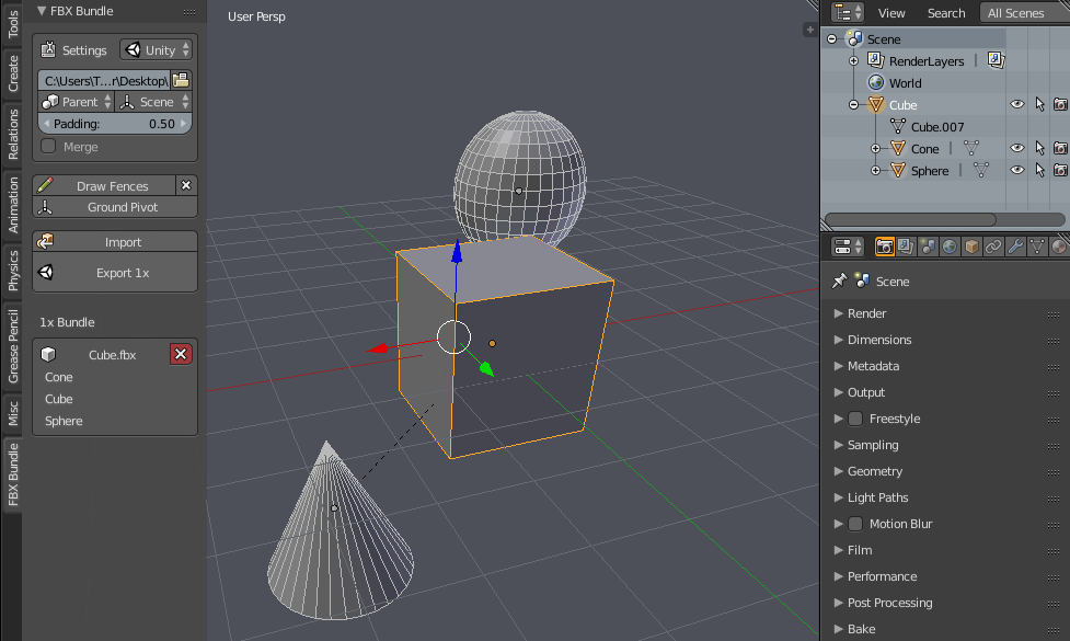 Blender] FBX Bundle Export addon — polycount