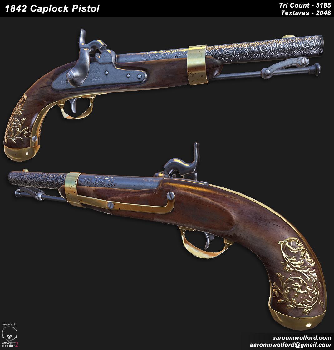 1842 Flintlock Pistol — polycount