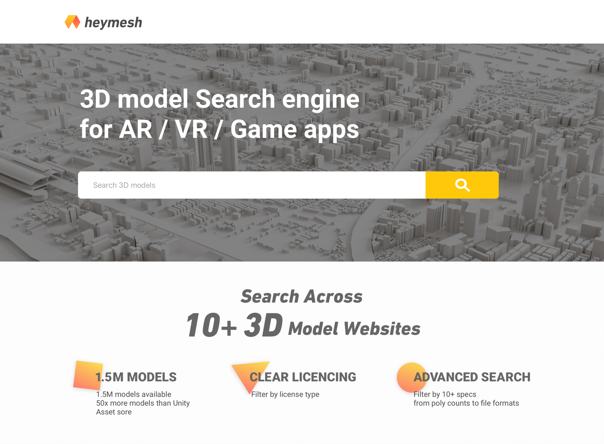 3d model search engine for AR/VR and game apps — polycount