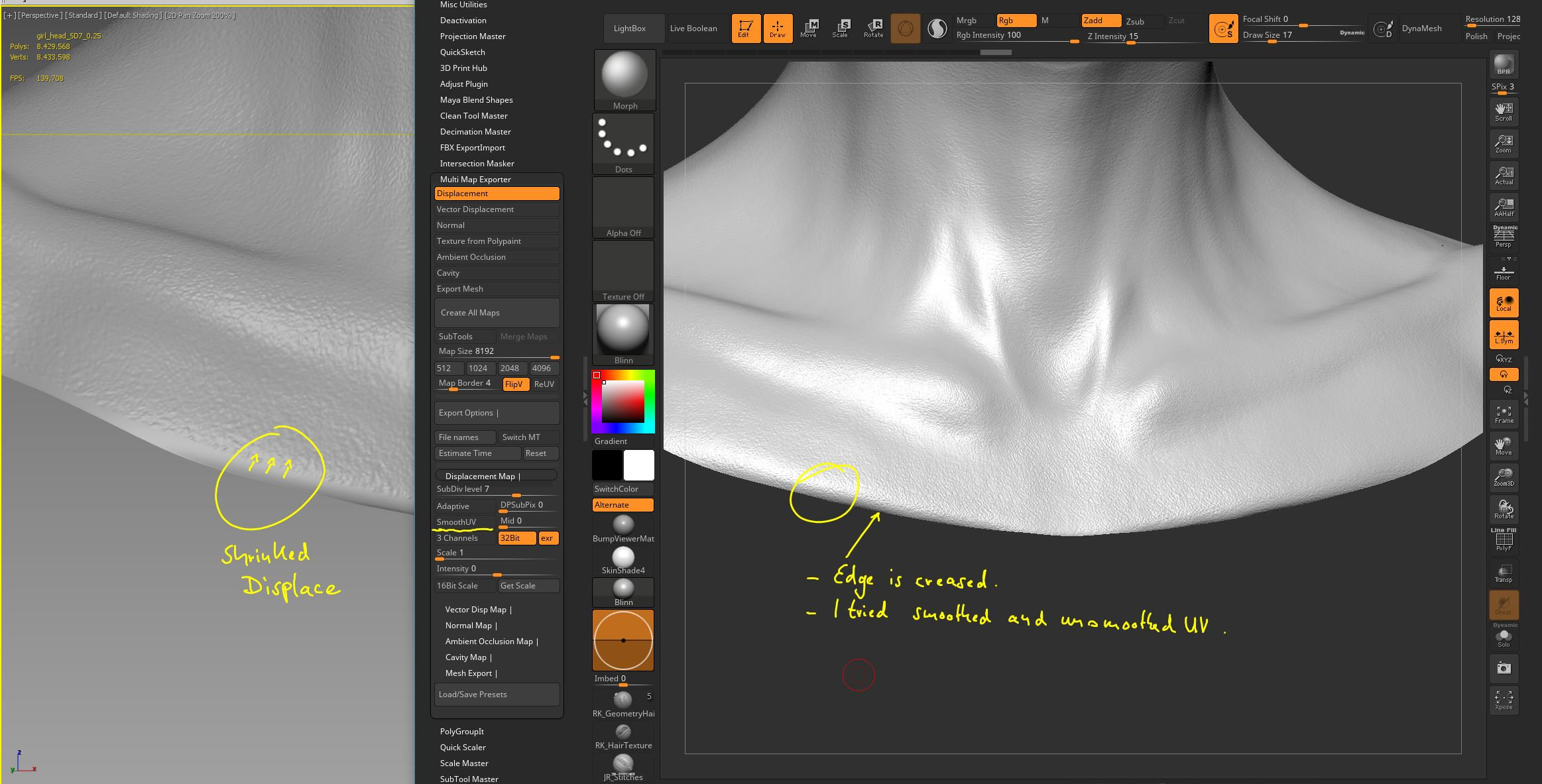 Displacement map from Zbrush wont fit Mari Albedo — polycount