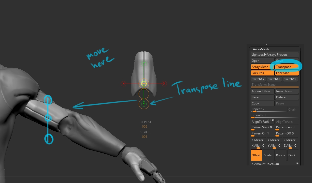 Image result for transpose tool zbrush
