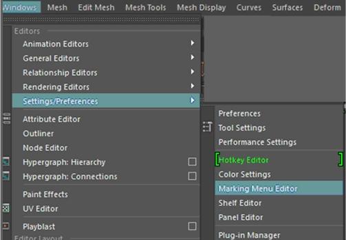 how to get the default menu maya