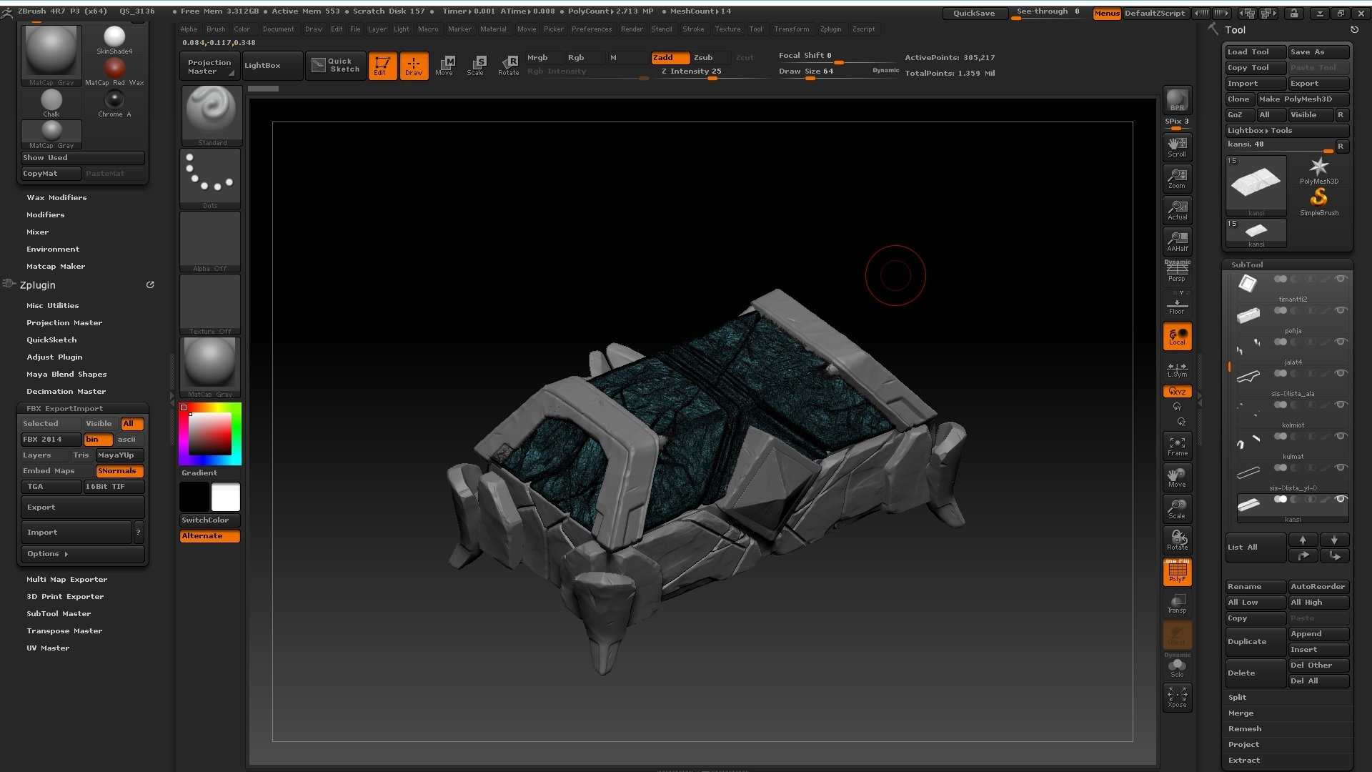Problem with Zbrush FBX export to 3ds Max 2017 — polycount