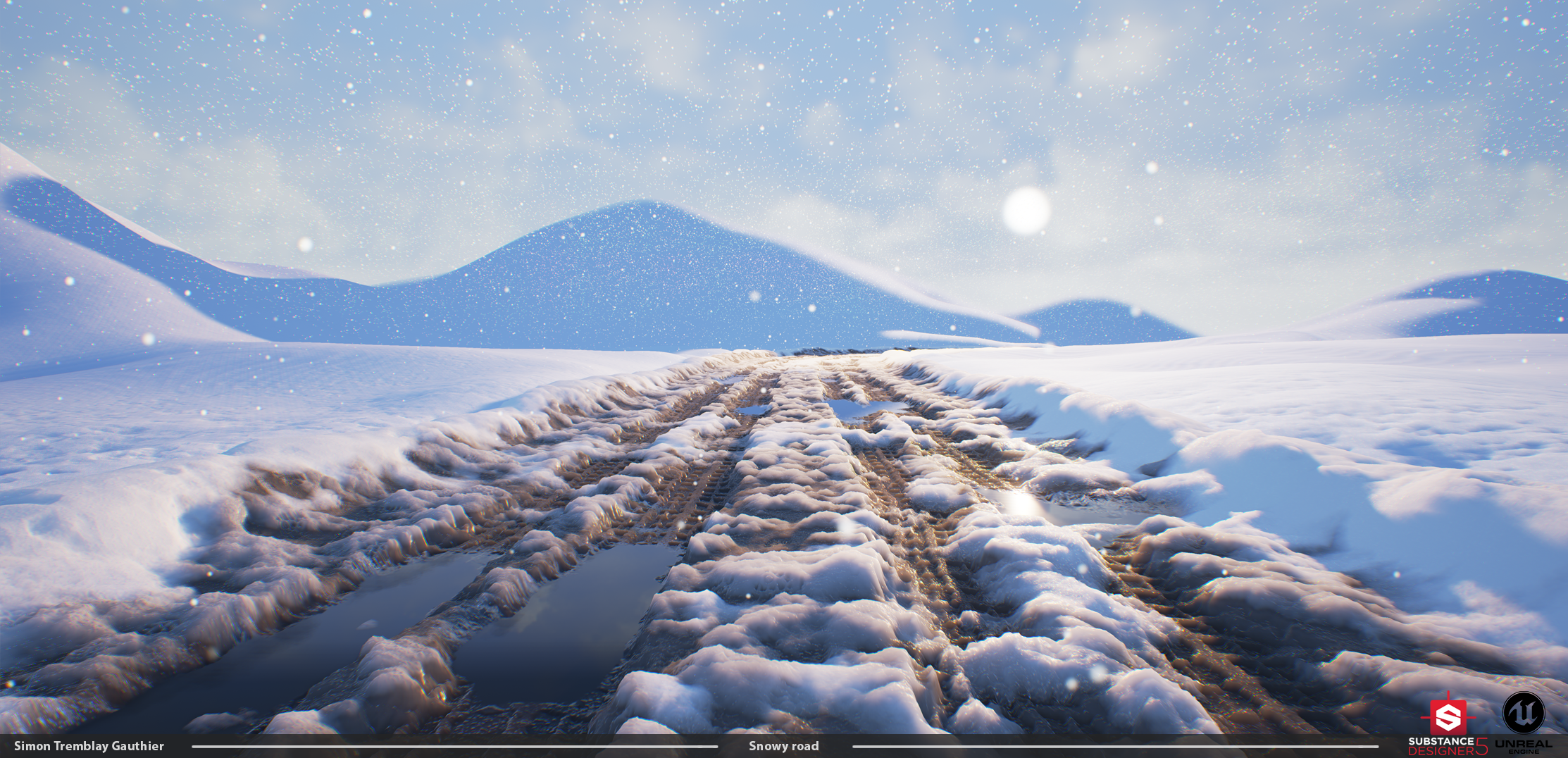 Substance/UE4] - Snow road scene — polycount