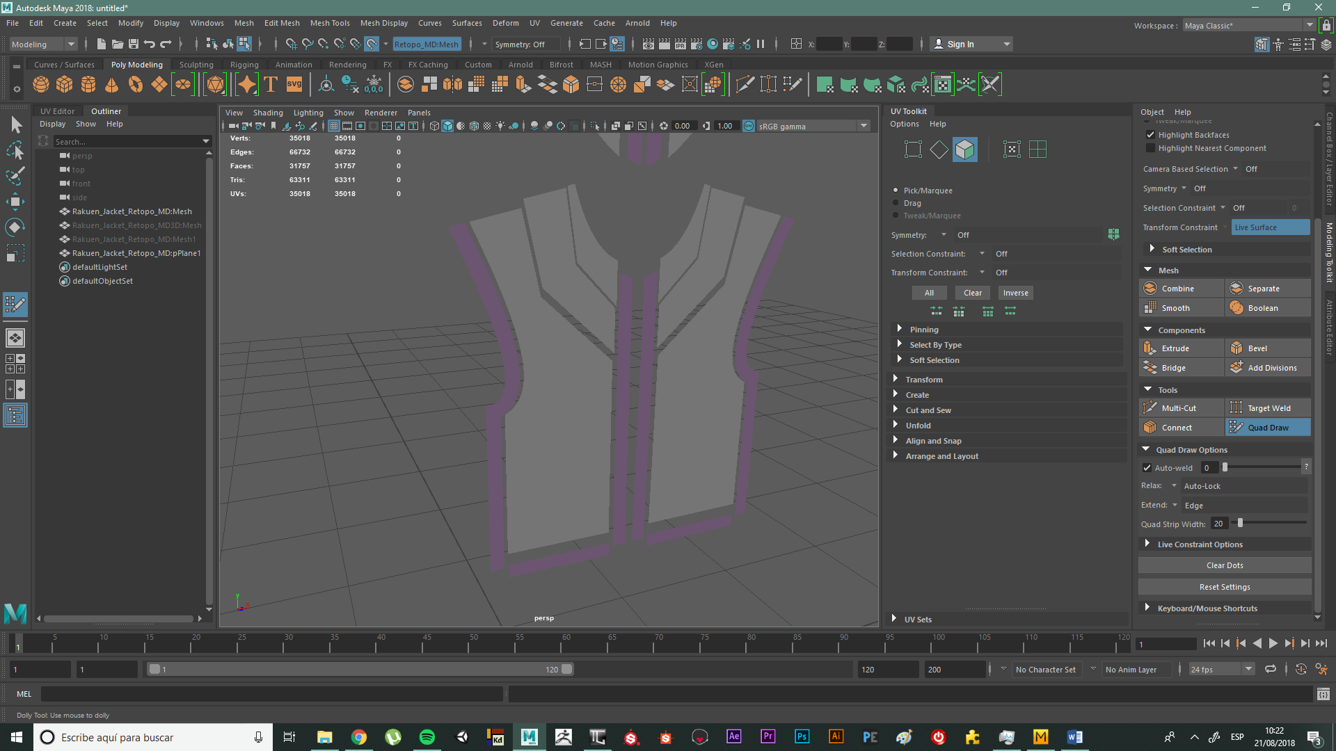 Quad Draw issue in Maya when doing retopo on a flat 2D