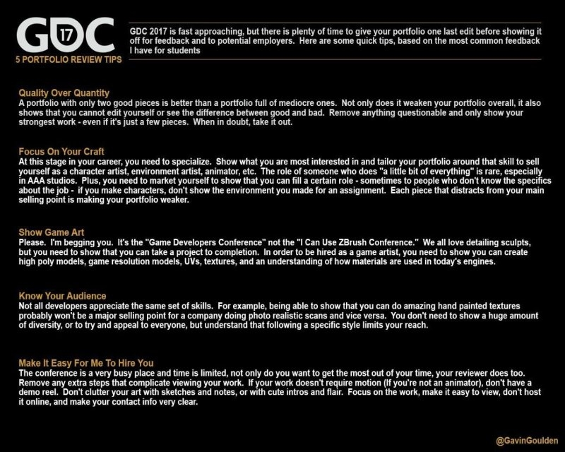 5 Portfolio Review Tips Before GDC — polycount