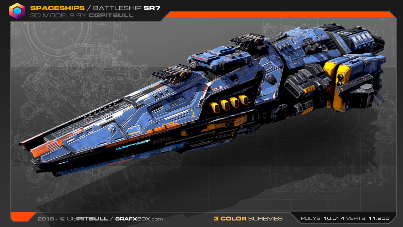 Low-Res Spaceship fleet — polycount