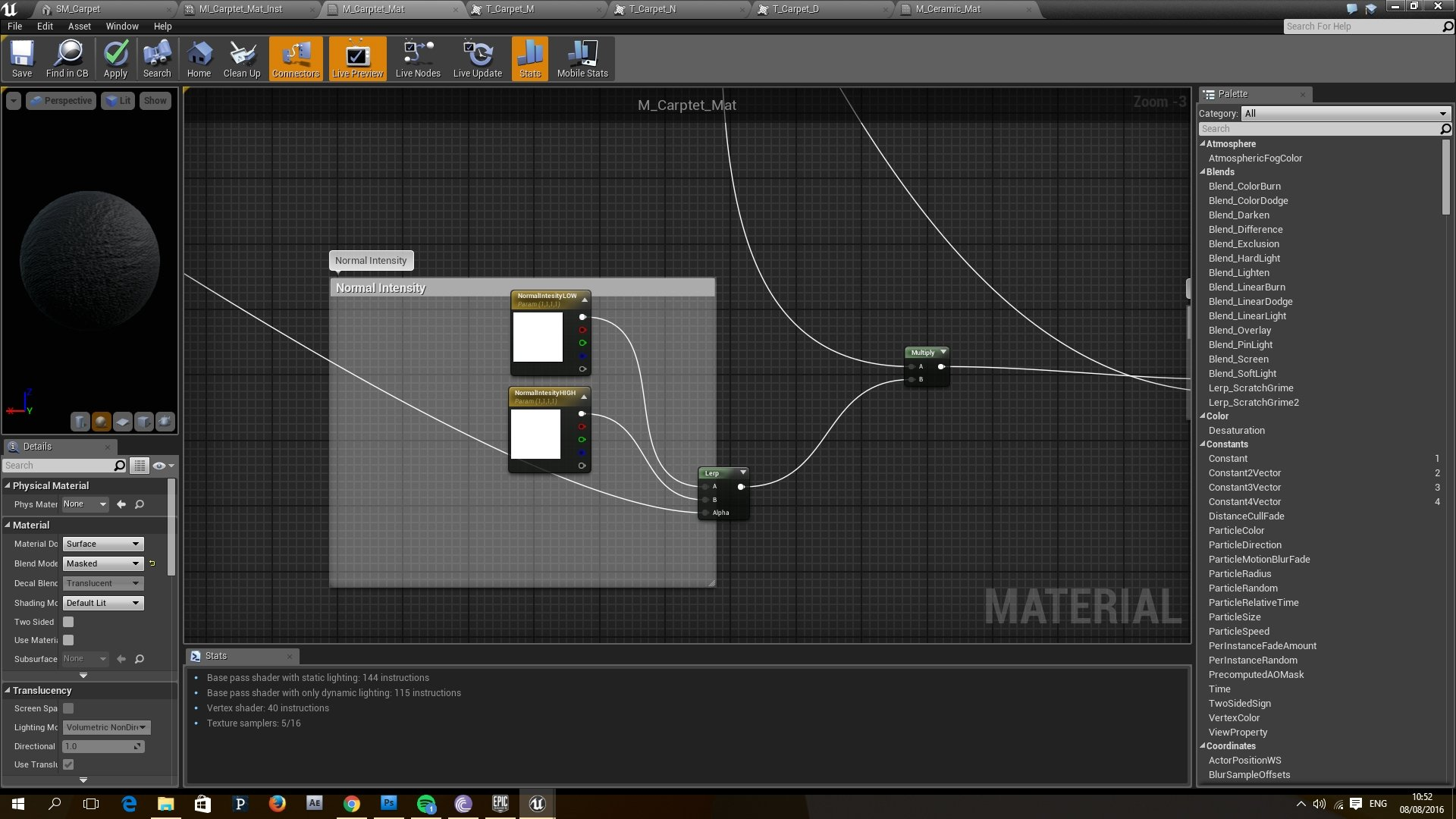 Anyone have more details on how to make a carpet in UE4