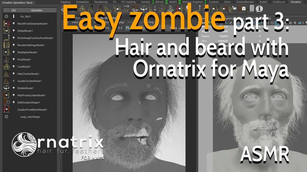 Easy zombie - Part 3: Hair and beard with Ornatrix for Maya — polycount