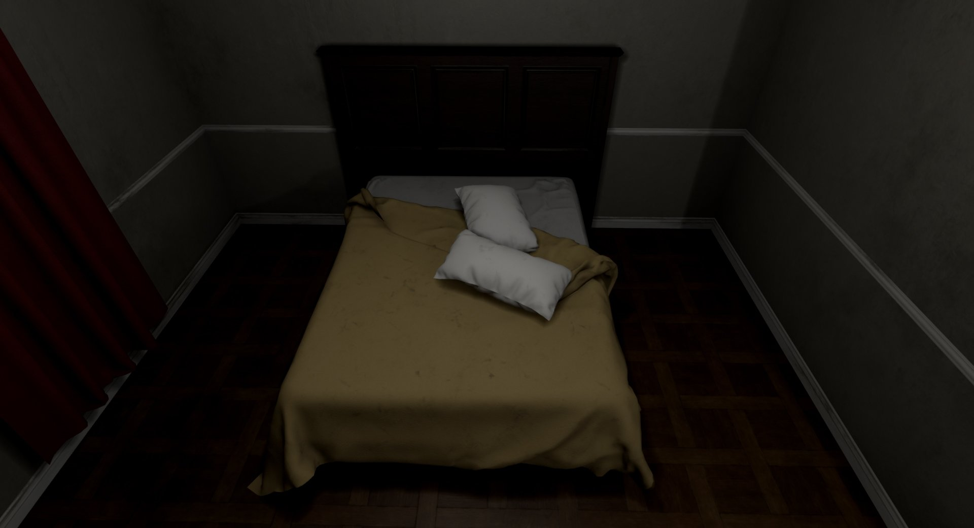wip first project in ue4 horror game hotel room polycount