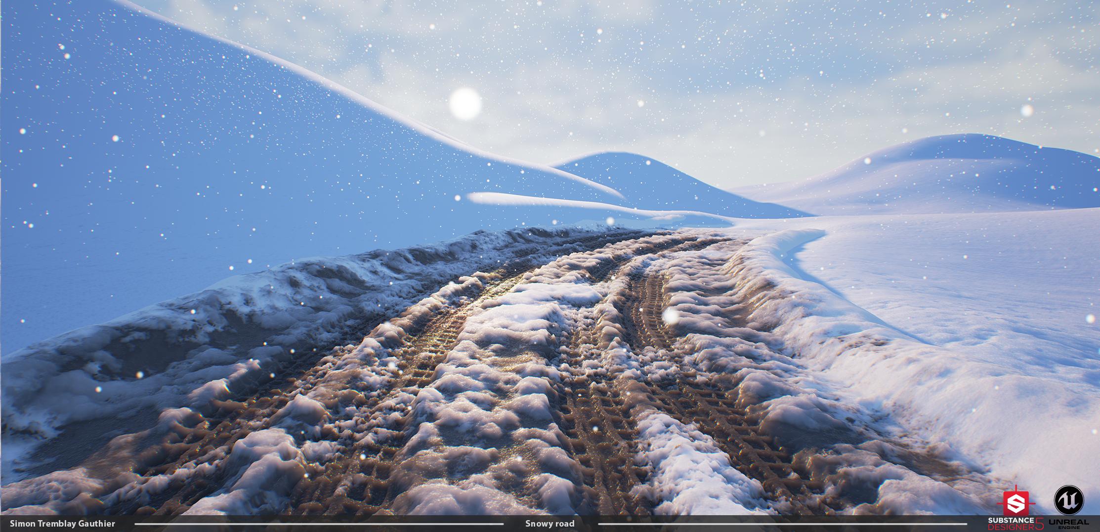 Substance/UE4] - Snow road scene — polycount