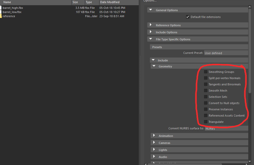 MEL is it possible to export a  fbx file and set the options