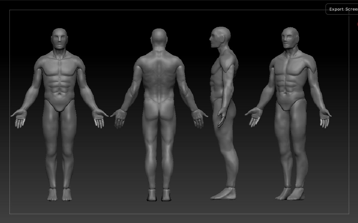 working on the male figure would love some crits polycount