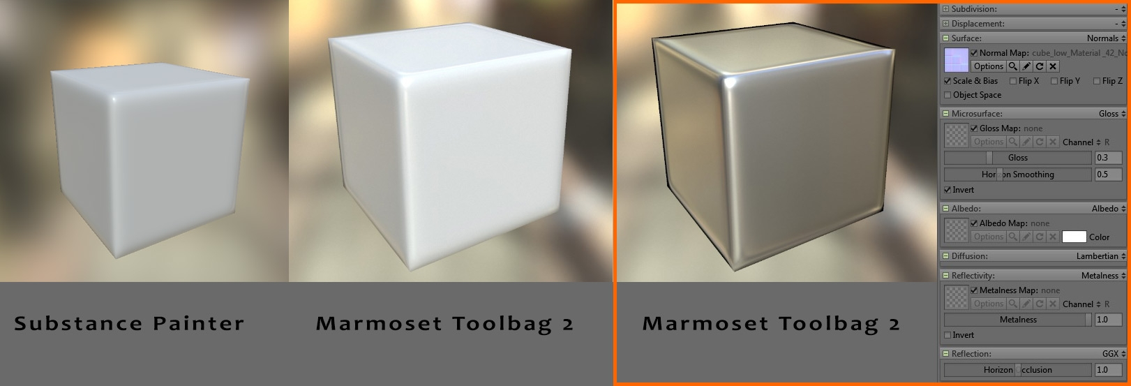 3ds Max - Substance Painter - Marmoset Toolbag normal map on metal