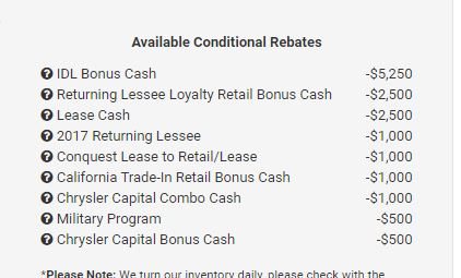 Chrysler Pacifica Lease Deals And Prices Page Car - Chrysler capital bonus cash