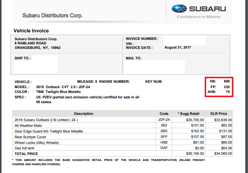 What Do The Codes On This Subaru Invoice Mean Car Forums At - 2018 wrx invoice price