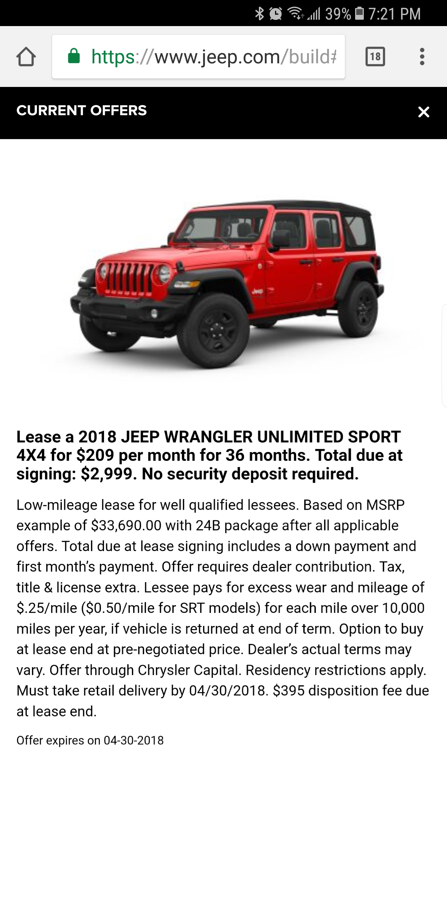 2018 Jeep Wrangler Lease Deals and Prices Page 16 — Car Forums at