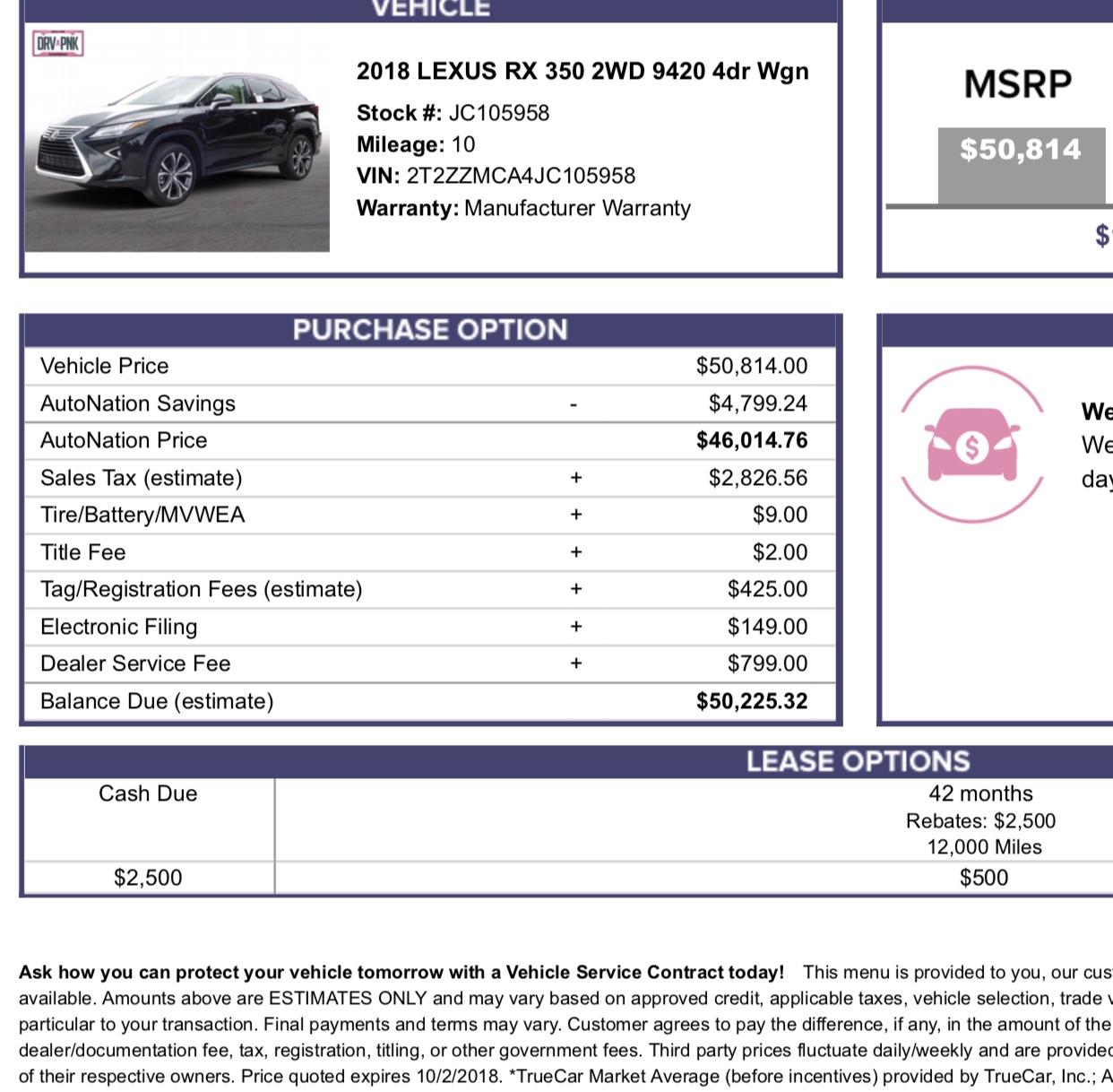 Lexus Rx350 Lease: 2018 Lexus RX Lease Deals And Prices