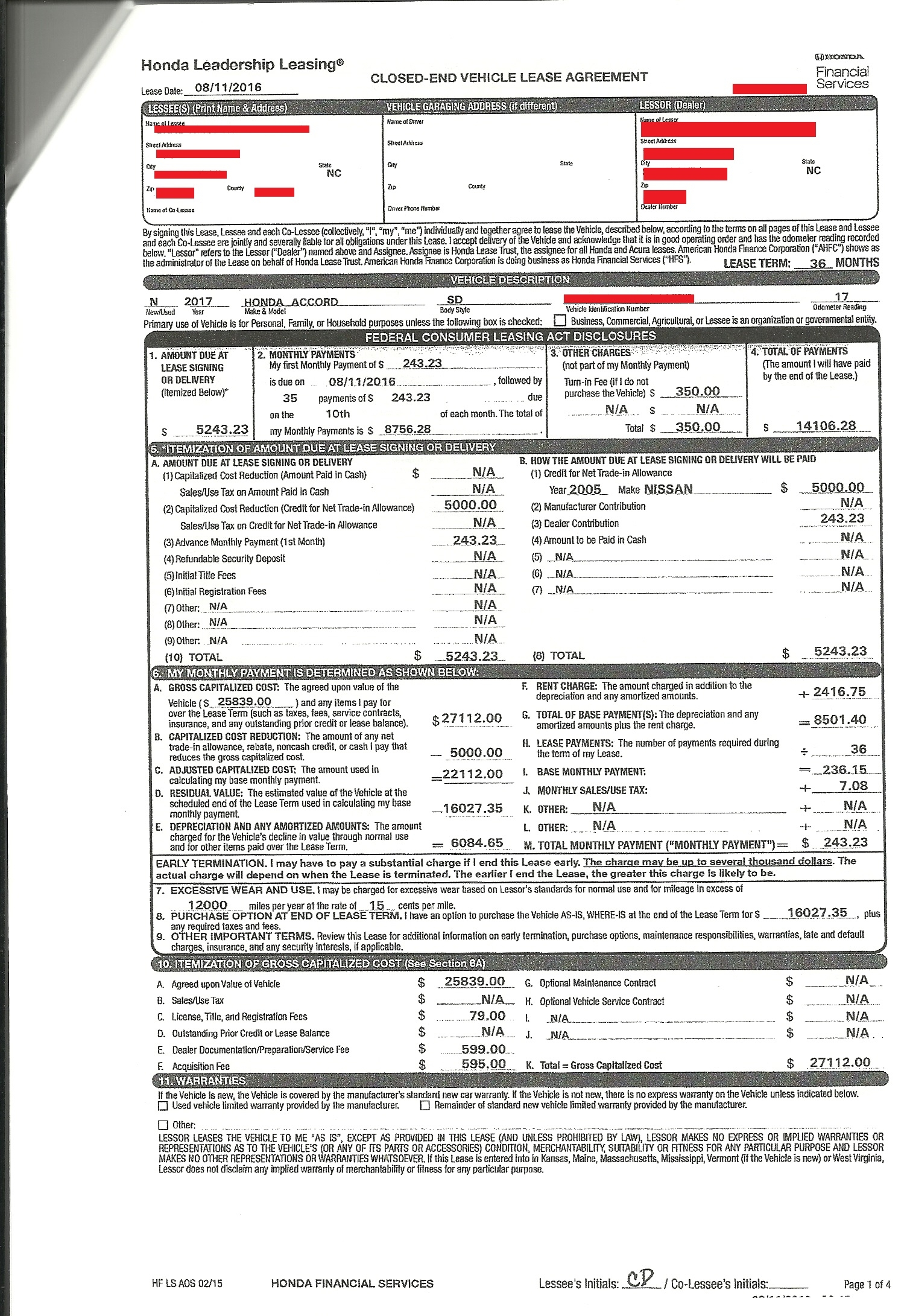 Honda lease agreement pdf lease contract template for Honda accord lease price