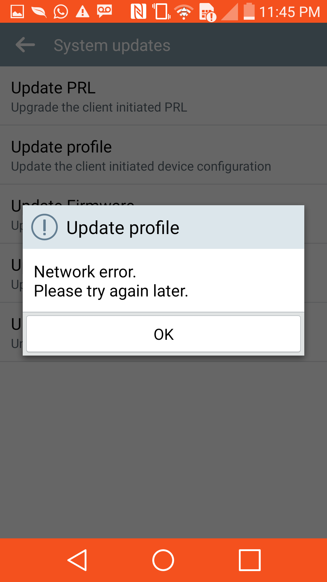 The network is updating your prl please wait