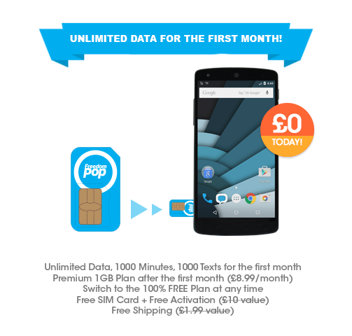 EXPIRED] FreedomPop UK - 100% FREE SIM Card and Unlimited Data for