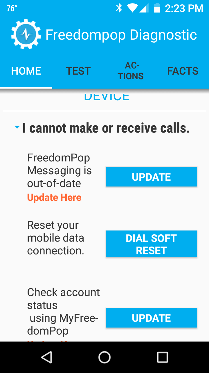 what's the latest FP app for android? cannot make call with 23 01