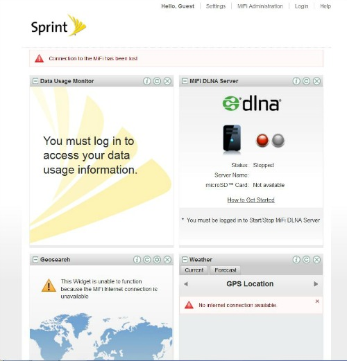 Unable to connect: Error Message 128 or Sprint Landing Page