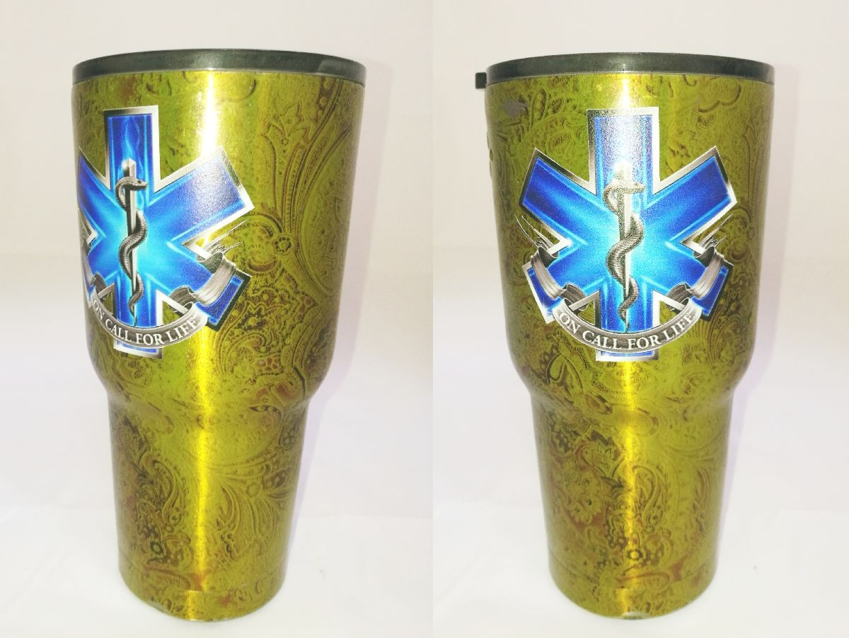 The texture in the decal is the texture of the powder coated cup transmitting through the decal