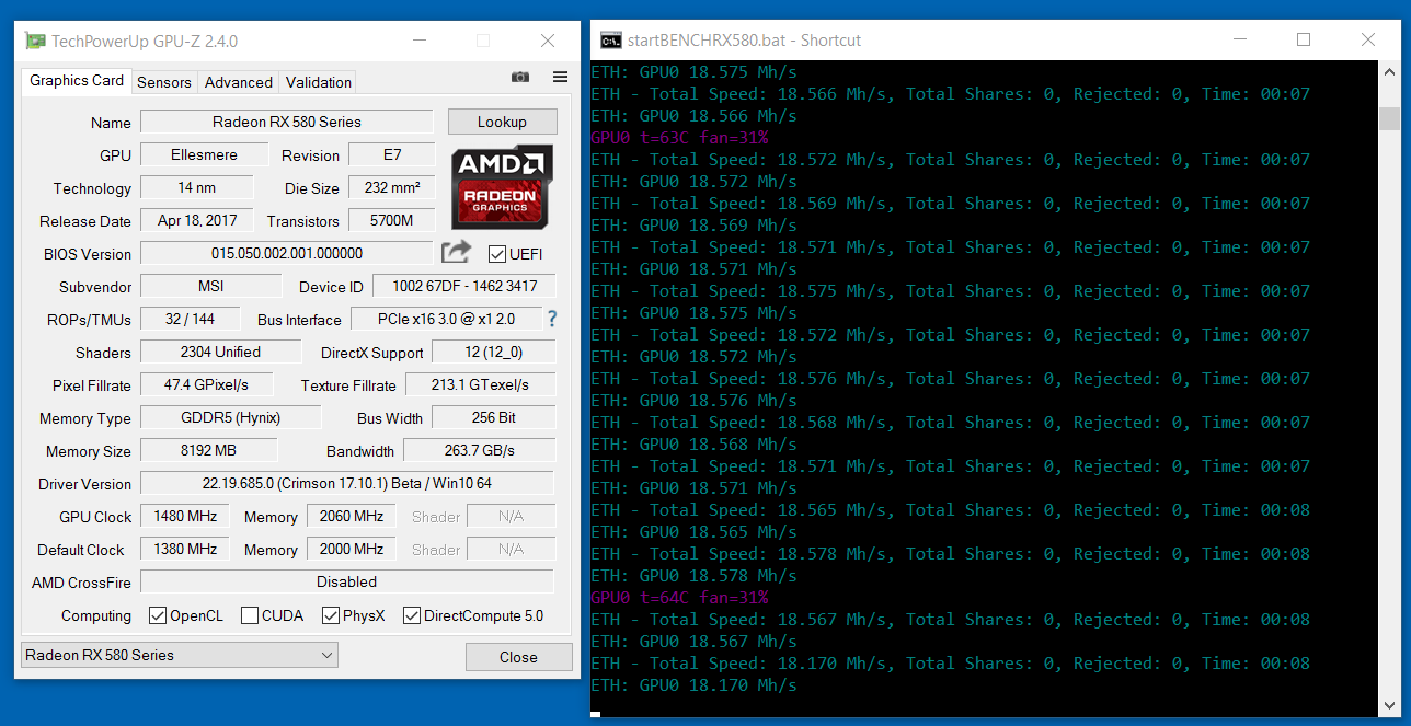 MSI RADEON RX-580 : Low Hashrate Problem | Out of Box 20 81MH/s